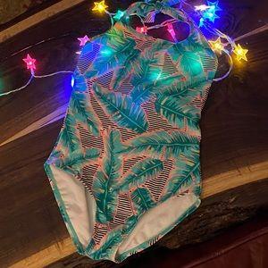 🍀EUC Sz S art class palm leaves bathing suit